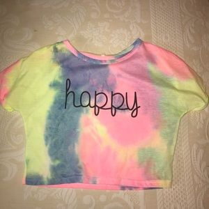 Neon Happy Cropped T-Shirt.